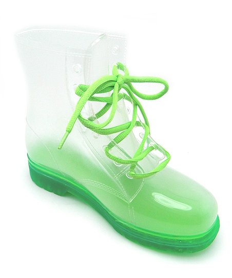 Green Transparent Rain Boot