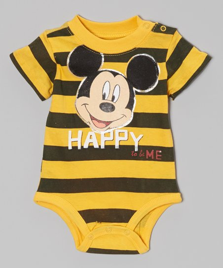 Yellow & Black 'Happy to be Me' Bodysuit - Infant