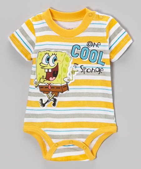 Yellow Stripe 'One Cool Sponge' Bodysuit – Infant