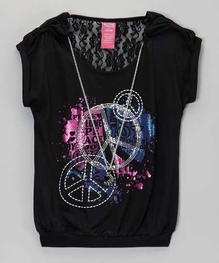 Black Peace Sign Lace-Back Tee - Girls