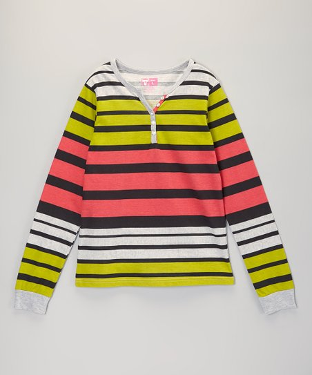 Green & Coral Stripe Henley - Girls