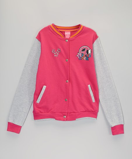 Pink Star Varsity Jacket - Girls