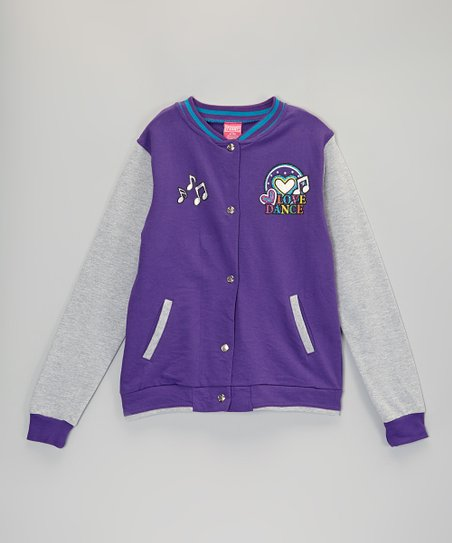 Purple Music Note Varsity Jacket - Girls