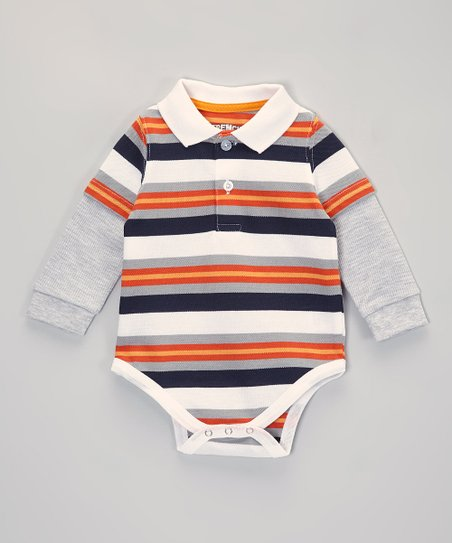 Orange & Gray Stripe Layered Polo Bodysuit - Infant