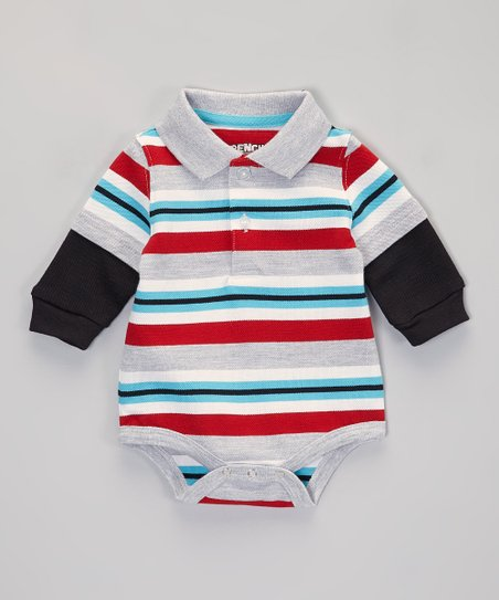 Black & Teal Stripe Layered Polo Bodysuit - Infant