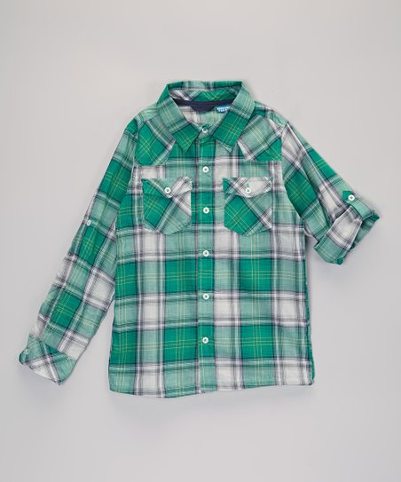 Green Plaid Button-Up - Infant, Toddler & Boys