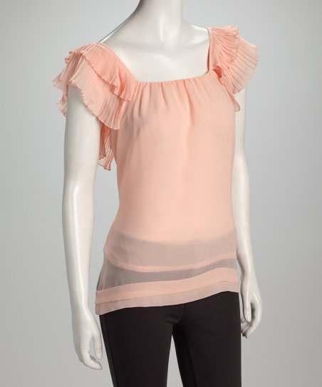 Pink Ruffle-Sleeve Top
