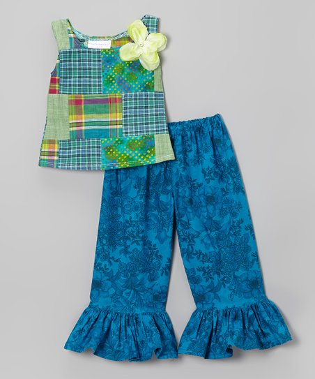 Teal Breeze Patchwork Top & Blue Ruffle Pants - Toddler & Girls