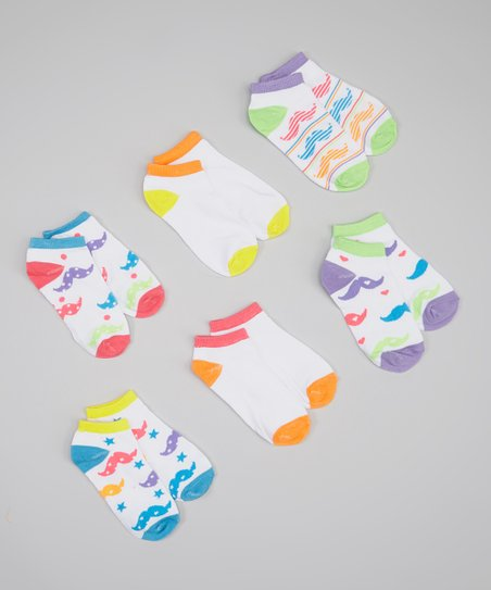 White & Neon Mustache Socks Set - Girls