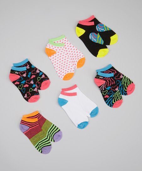 Black & Pink Animal Heart Socks Set - Girls