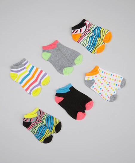 White & Neon Zebra Socks Set - Girls