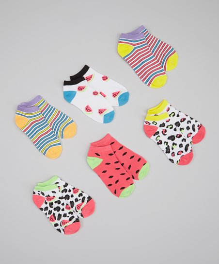 White & Pink Watermelon Socks Set - Girls