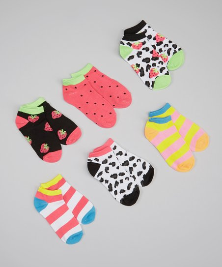 Black & Pink Strawberry Socks Set - Girls