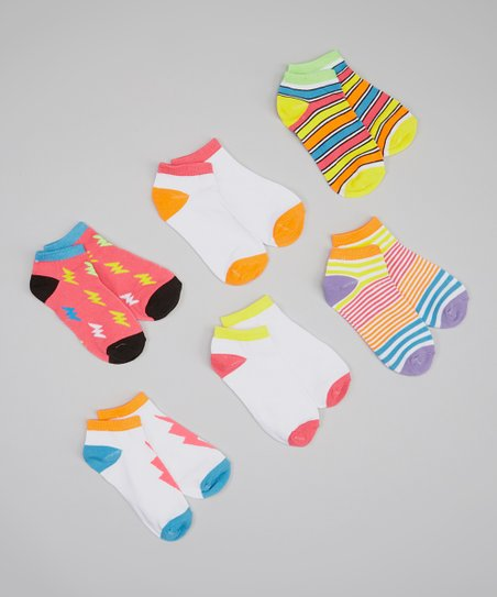 White & Neon Lightning Socks Set - Girls