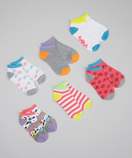Gray & Neon Skull Animal Sock Set