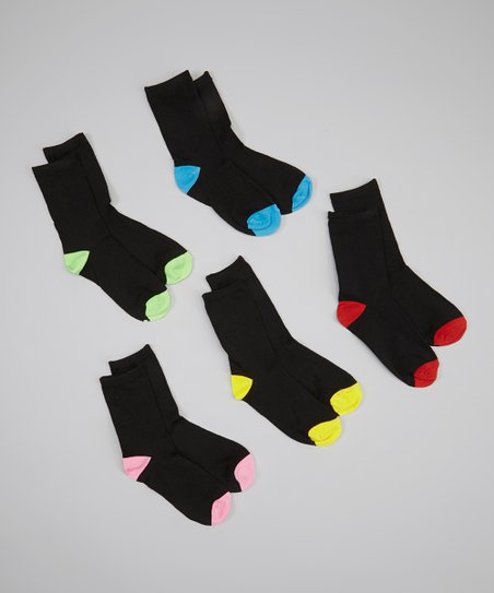 Black Contrast Toe Crew Sock Set
