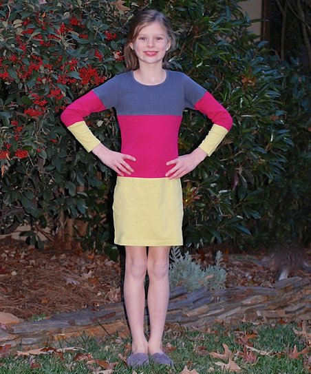 Red & Yellow Color Block Shift Dress – Toddler & Girls