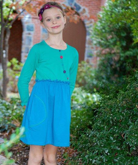 Green & Blue Button Dress – Toddler & Girls