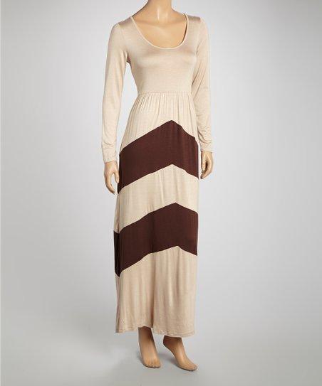 Mocha Chevron Maxi Dress