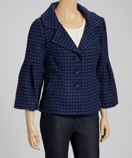 Cobalt & Black Houndstooth Bell-Sleeve Coat