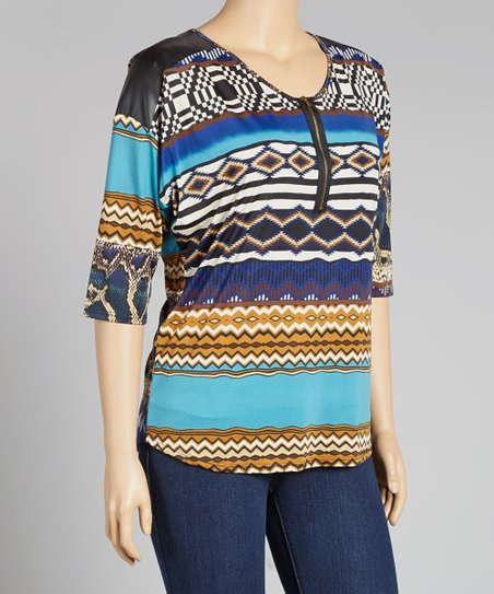 Blue Tribal Scoop Neck Top - Plus