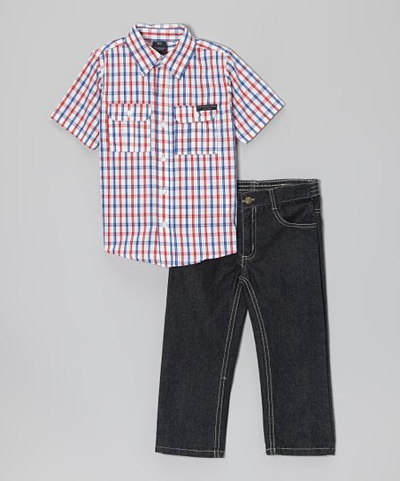 Red & White Plaid Button-Up & Denim Jeans - Toddler