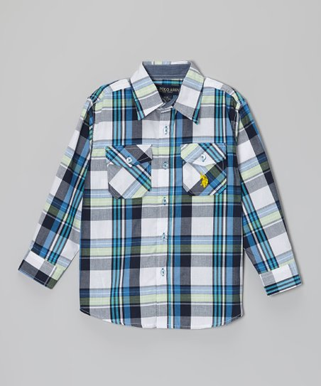 White & Blue Plaid Button-Up - Toddler & Boys