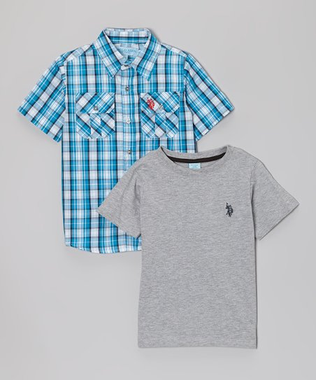 White & Blue Plaid Button-Up & Gray Tee - Infant & Toddler