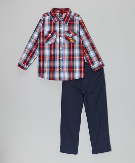 Red Plaid Button-Up & Pants - Infant, Toddler & Boys