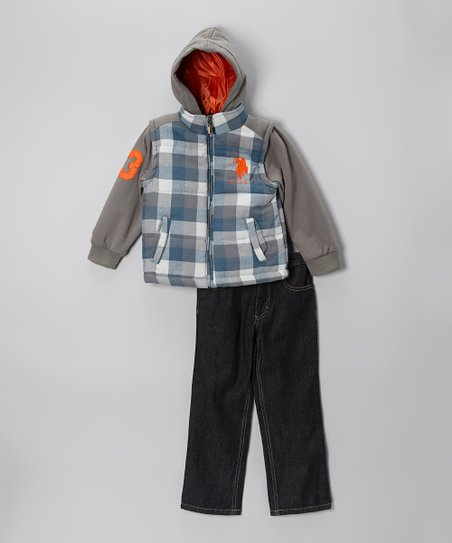 Gray & Blue Plaid Zip-Up Vest & Jeans - Infant, Toddler & Boys