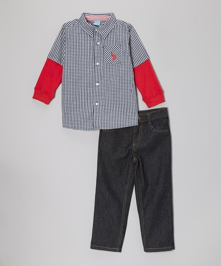 Navy Gingham Layered Button-Up & Jeans - Infant, Toddler & Boys