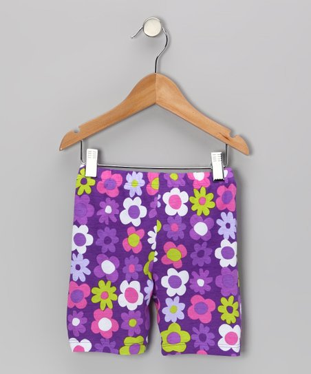 Purple Fab Floral Bike Shorts - Infant