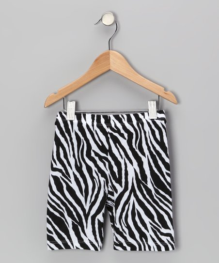 Black & White Zebra Bike Shorts - Infant, Toddler & Girls