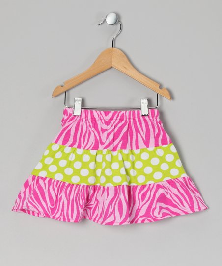 Pink Zebra Polka Dot Tiered Skirt - Toddler & Girls