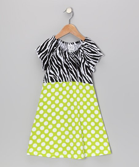 Kiwi Punch Polka Dot Angel-Sleeve Dress - Infant, Toddler & Girls