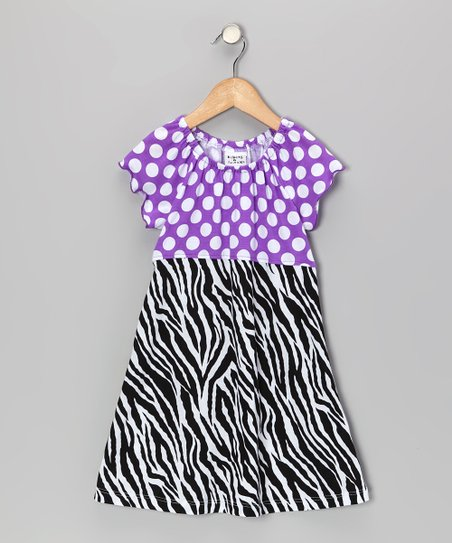 Black & White Zebra Peasant Dress - Infant, Toddler & Girls