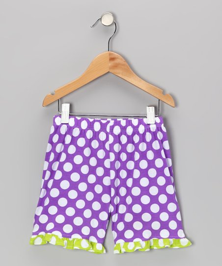 Grape Punch Polka Dot Ruffle Shorts - Infant, Toddler & Girls
