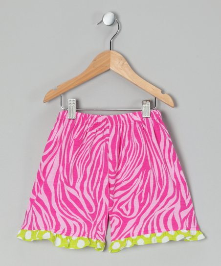 Pink Zebra Ruffle Shorts - Infant & Toddler