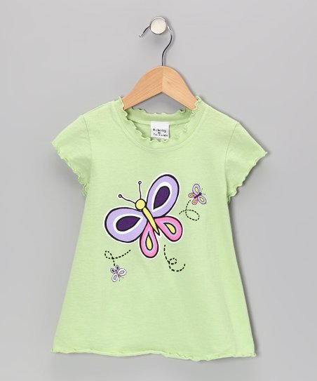 Green Butterfly Daisy Lettuce-Edge Tee - Infant, Toddler & Girls