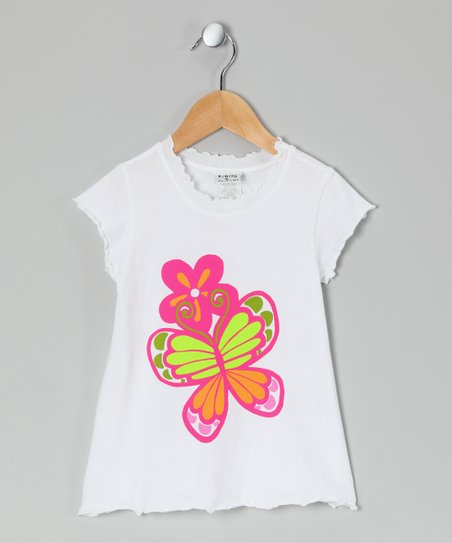 White Butterfly Lettuce-Edge Tee - Infant, Toddler & Girls