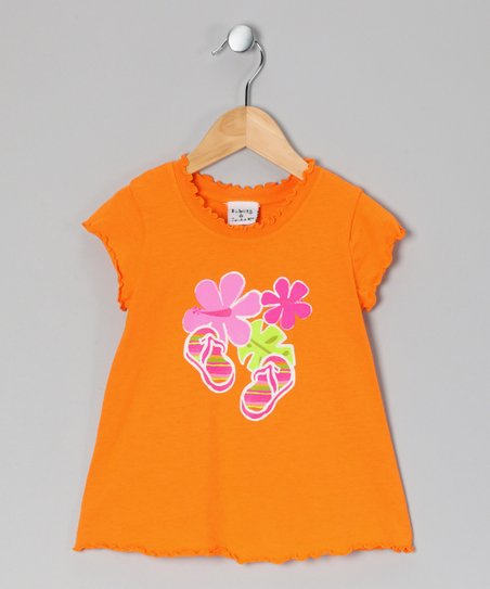 Orange Fiji Floral Lettuce-Edge Tee - Infant, Toddler & Girls