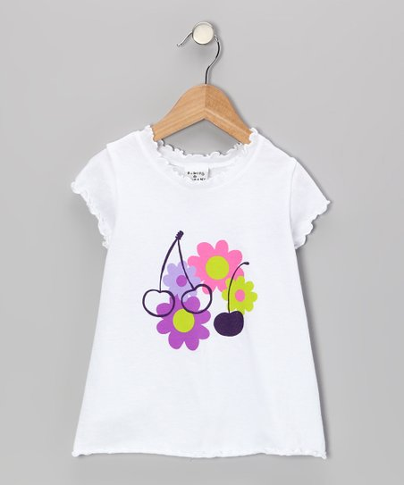 White Peri Cherry Lettuce-Edge Tee - Infant, Toddler & Girls