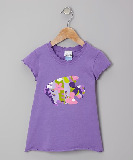 Purple Tropical Garden Lettuce-Edge Tee - Infant, Toddler & Girls