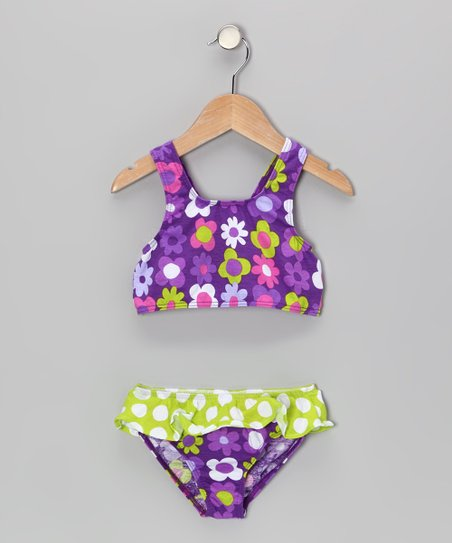 Purple Fab Floral Skirted Bikini Sunsuit - Infant, Toddler & Girl