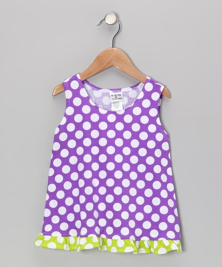 Grape Punch Polka Dot Ruffle Tank - Infant, Toddler & Girls
