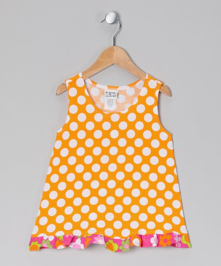 Mango Punch Polka Dot Ruffle Tank - Infant, Toddler & Girls
