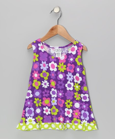 Purple Fab Floral Ruffle Tank - Infant, Toddler & Girls