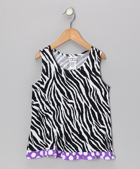 Black & White Zebra Ruffle Tank - Infant, Toddler & Girls
