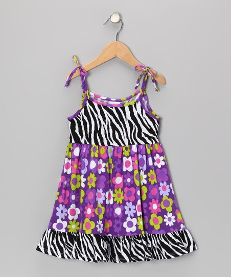 Black & White Zebra Ruffle Dress - Infant, Toddler & Girls