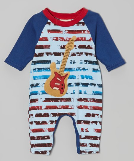 Blue & Red Stripe Guitar Playsuit - Infant